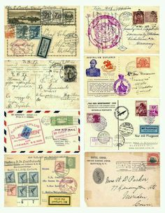 Vintage Labels Free Vintage Images - Postal Collage by Elzabeth Vintage Labels, Vintage Ephemera, Vintage Paper, Vintage Postcards, Printable Vintage, Vintage Stamps, Printable Postcards, Graphics Vintage, Collage Vintage