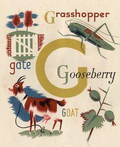 Illustration by Grace Gabler, ca 1945, Child's Alphabet.