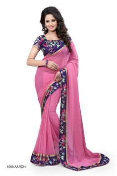 Designer Pink Georgette Saree with Designer Purple Flower Printed Lace and Blouse