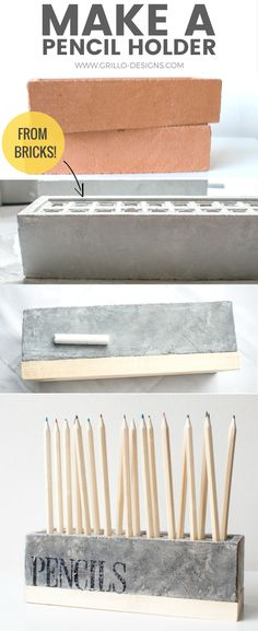 DIY Pencil holder - organize your desk space with this industrial style diy pencil holder made from air bricks and painted to look like concrete!
