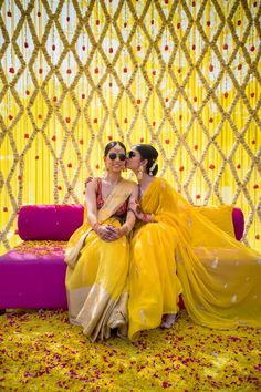 Looking for Two sisters pose together on the haldi ceremony? Browse of latest bridal photos, lehenga & jewelry designs, decor ideas, etc. on WedMeGood Gallery. Desi Wedding Decor, Wedding Hall Decorations, Wedding Mandap, Wedding Stage, Wedding Poses, Marriage Decoration, Wedding Ideas, Wedding Bride, Sister Poses