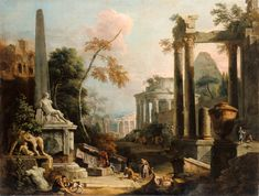 """""""Landscape with Classical Ruins and Figures,"""" Marco Ricci and Sebastiano Ricci, about 1725 - 1730. Oil on canvas. J. Paul Getty Museum, Los Angeles, California"""