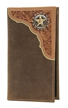 Tony Lama Tan Distressed with Natural Tooled Corner & Star Rodeo Wallet/Checkbook Cover Leather Carving, Leather Art, Leather Books, Custom Leather, Leather Tooling, Leather Wallet, Custom Wallets, Men's Wallets, Leather Projects