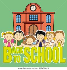 back to school card. school and children