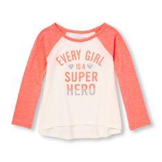 Toddler Girls Active Long Raglan Sleeve Embellished Graphic Top