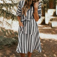 ZANZEA Print Striped V Neck Pockets Short Sleeve Casual Dress is high-quality, see other cheap summer dresses on NewChic. Midi Dress Outfit, Boho Midi Dress, Cheap Summer Dresses, Calf Sleeve, Shorts With Pockets, Fashion Over 40, One Piece Swimwear, V Neck Dress, Leggings Fashion