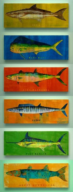 Saltwater Fish Art Series Large Art Block - Pick the Print - 4 in x 11 in Great Fish Wall Decor Fisherman Gift. $24.00, via Etsy.