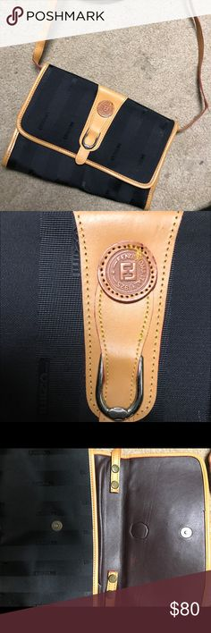 Fendi Shoulder Purse/Clutch VINTAGE FENDI ITALY BROWN STRIPED CROSSBODY/CLUTCH HANDBAG.  Not sure of the authenticity. Excellent condition for its age.  Shows very little signs of wear, look at pictures to see.  The strap has one little stitch that thread can fix out of place shown in a picture, it is removable to make the handbag a clutch. Fendi gold Italy Roma 1925 zipper pulls, leather stamp in front. Found it at a vintage store. Fendi Bags Shoulder Bags