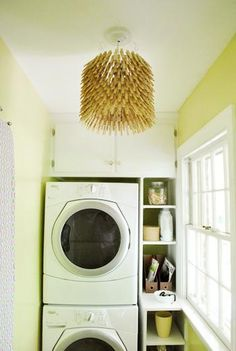 Katie Loves …an on-theme lamp shade you can make yourself. A DIY clothespin lampshade fittingly hangs in this sunny laundry room. Photo: Young House Love