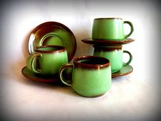 Vintage Frankoma Esspresso Cups and Saucers in by VintageHomeShop, $29.00