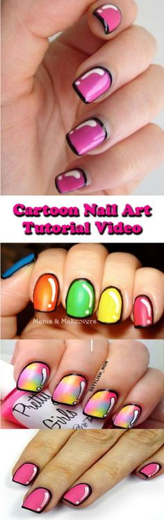 Cute cartoon nail art design How to Video!