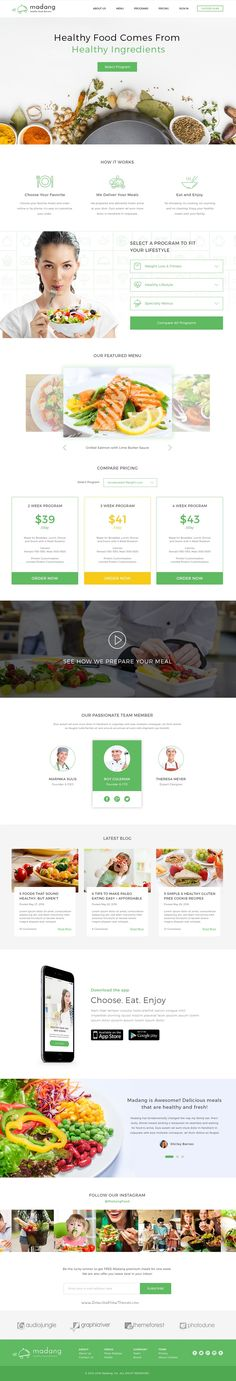 Madang is modern and fresh design #PSD template for Healthy #Food Delivery Services #website download now➯ https://themeforest.net/item/madang-healthy-food-delivery-psd/16881082?ref=Datasata