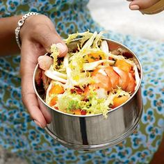 Poached Shrimp, Melon and Frisée Salad | To make the dressing for this pretty salad, Daniel Humm takes the zesty poaching liquid for shrimp—flavored with coriander seeds, garlic, peppercorns and orange zest—and reduces it. The salad is wonderful as both a first course or a light main course.