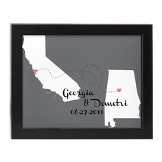 This entire site is filled with awesome gift ideas!!! LOVE WILL FIND A WAY PERSONALIZED WALL ART | Frame, Shadowframe, Silhouette, Sandrine Froehle, Print, Illustration, Couples, Anniversary Gifts, Engagement Gifts, Heart, Long-Distance, Love, Partner, Spouse, Valentine's Day | UncommonGoods