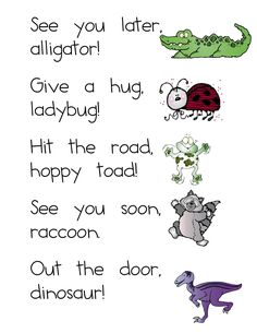 One more rhyme on the way out the door - Helps kids leave with a smile! (Free poster!)