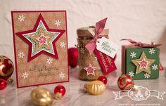 Verpackung und #Weihnachtskarte mit Stampin' Up! Stanz- und #Falzbrett für #Geschenkschachteln in den Farben #Gartengruen, #Chili, #Fluesterweiss und #Gold. Gestempelt wurde mit Zauber der Weihnacht #ZauberderWeihnacht.