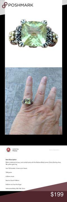 Barbara Bixby, citrine, Sterling silver, 18k ring Gently used. Minor tarnish Barbara Bixby Jewelry Rings