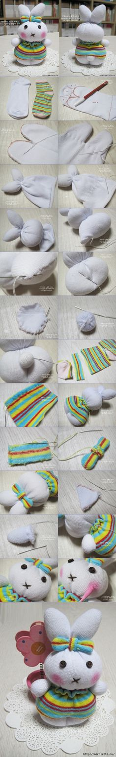 DIY Cute Sock Bunny | www.FabArtDIY.com LIKE Us on Facebook ==> https://www.facebook.com/FabArtDIY