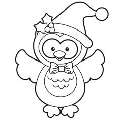 Holiday Owl Coloring Page - Free Christmas Recipes, Coloring Pages for Kids & Santa Letters - Free-N-Fun Christmas