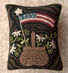 Primitive Needle Punch Pillow Americana Basket by thetalkingcrow