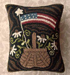 Primitive Rug Hooking Pillow Americana Basket by thetalkingcrow