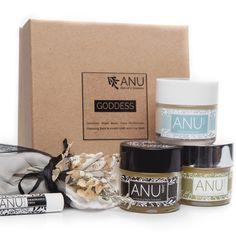 ANU Face Moisturiser (50ml), ANU Night Balm (50ml), ANU Cleansing Balm (50ml) & Muslin Cloth, Lip Balm. Clean Beauty, Natural Skin Care, Lip Balm, Cool Things To Buy, Moisturizer, Lips, Face, Gift Sets, Texting