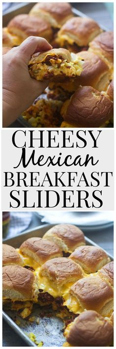 Cheesy Mexican Breakfast Sliders - The most gooey, melt-in-your-mouth, delicious chorizo and egg sandwiches!
