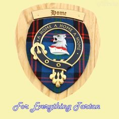 Clan Home Tartan Woodcarver Wooden Wall Plaque Home Crest 7 x 8