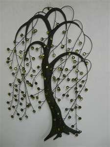 jeweled willow tree metal wall art