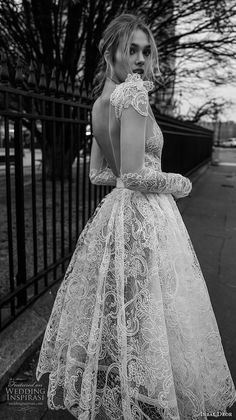inba dror fall 2018 bridal long sleeves deep v neck full embellishment romantic tea length short wedding dress open v back zbv Inbal Dror's Fall 2018 is all about stunning details and unique style! Feast your eyes on tea lengths and minis in frothy Lace Wedding Dress With Sleeves, Country Wedding Dresses, Wedding Gowns, Dresses With Sleeves, Short Sleeves, Grecian Wedding, Lace Sleeves, Boho Wedding, Fall Dresses