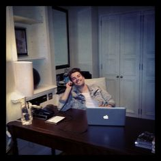 """Just chilling in my hotel office :p"" 5/7/12."