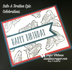 How cute and easy to make birthday card.  I used  the Stampin' Up! Epic Celebrations, from Sale-A-Bration, and Perennial Birthday from the Occasions catalog.