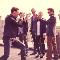 Loki vs. Iron Man. With Hawkeye, Thor, and the Black Widow looking on.