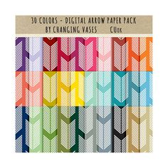 30 Digital Scrapbook Paper Pack Arrow Pattern Paper Basic Color Set Instant Download Graphic Texture Clipart Clip Art Photo Background ChangingVases 3.00 USD