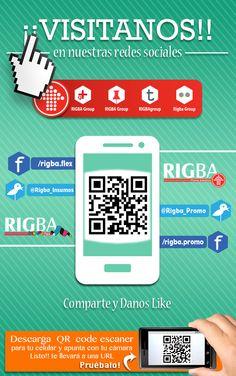 Siguenos en nuestras redes sociales!! Mantente informado de nuevos productos, promociones y descuentos. YA estamos en: TUMBLR, Google+, Twitter, Flickr, Pinterest, Facebook RIGBApromo + RIGBAflex.