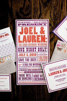 Lauren + Joel's Old Timey Letterpress Wedding Invitations