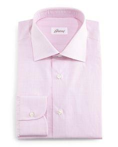 Grid Box-Check Dress Shirt, Pink - Brioni