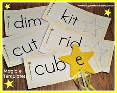 DIY Magic e wands.  24 FREE CVC/CVCe templates.  Great for literacy centers or small group instruction