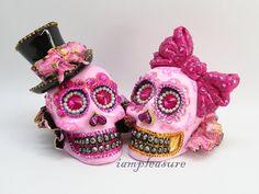 Skull pink day of dead weddings cake topper by iampleasure on Etsy, $159.00