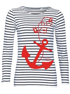 FLAMING%20STAR%20Come%20Aboard,%20blau/weiss%20Girl-Longsleeve,%20gestreift%A0