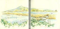 I colori di Conci- Conci's colours: Il lago di Burano-matite colorate. Lake Burano-coloured pencils.