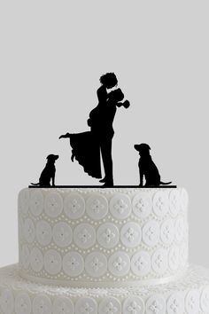 Custom Wedding Cake Toppers, Mr and Mrs Cake Topper, Bride and Groom Silhouette with Dogs, Personalize Last Name, Acrylic Cake Topper A619 by CakeToppersShop on Etsy https://www.etsy.com/listing/224397708/custom-wedding-cake-toppers-mr-and-mrs