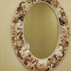 #seashell mirror . One of my favorite , i used variety of seashells and  corals.