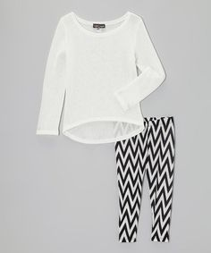 Take a look at this Black & White Hi-Low Tunic & Leggings by Lori & Jane on #zulily today! Tween outfit