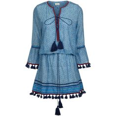 Talitha Turquoise Ria Kaftan Dress ($420) ❤ liked on Polyvore featuring dresses, blue embroidered dress, bohemian dresses, embellished kaftans, kaftan dress and v neck dress