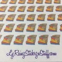 Stack of Books Stickers for the Passion Planner, Happy Planner, Erin Condren, Filofax, Bujo, Kikkik...etc by LyRainzStickrzNStuff on Etsy