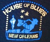 House of Blues t-shirt from New Orleans. Navy with graphics on the front and back. 100% pre-shrunk cotton. Large.