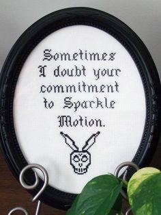 Sparkle Motion - Donnie Darko - Framed Cross Stitch (Made to Order). $75.00, via Etsy.