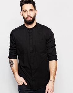 Image 1 of ASOS Shirt In Drape Fabric With Grandad Collar And Long Sleeve
