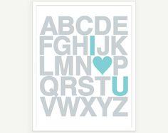 I Love You Alphabet Poster - Nursery Decor Kids Wall Art Modern Typography - 11x14